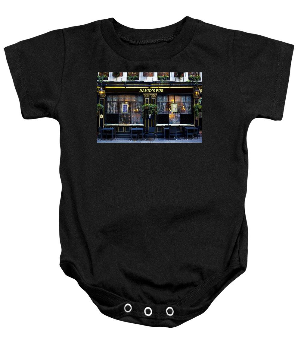 David Baby Onesie featuring the photograph David's Pub by David Pyatt