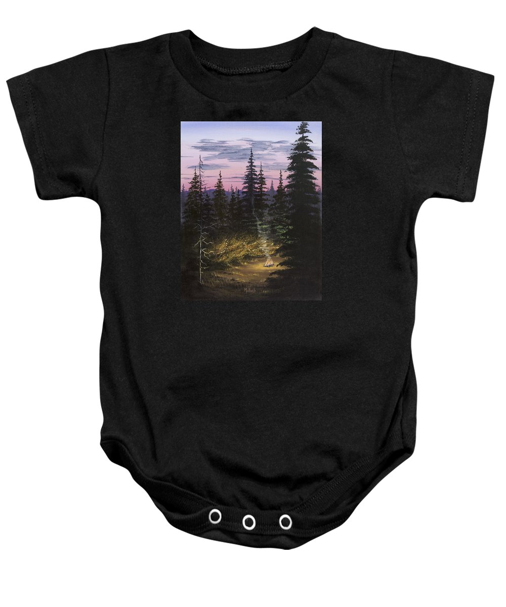 Sunrise Sky Baby Onesie featuring the painting Dawn Fire by Jack Malloch