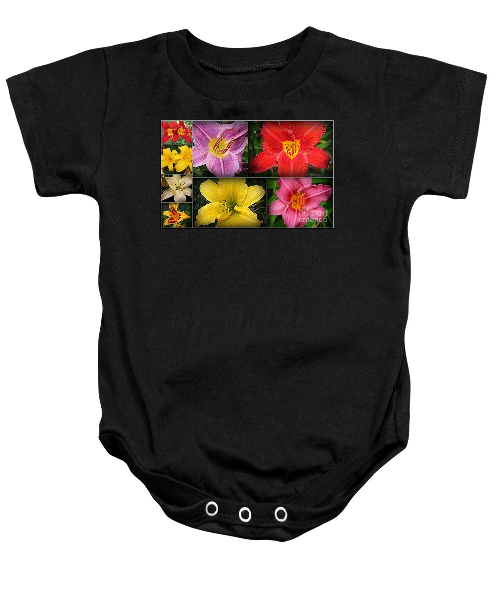 Lilies Baby Onesie featuring the photograph Daylily Days by Dora Sofia Caputo Photographic Design and Fine Art