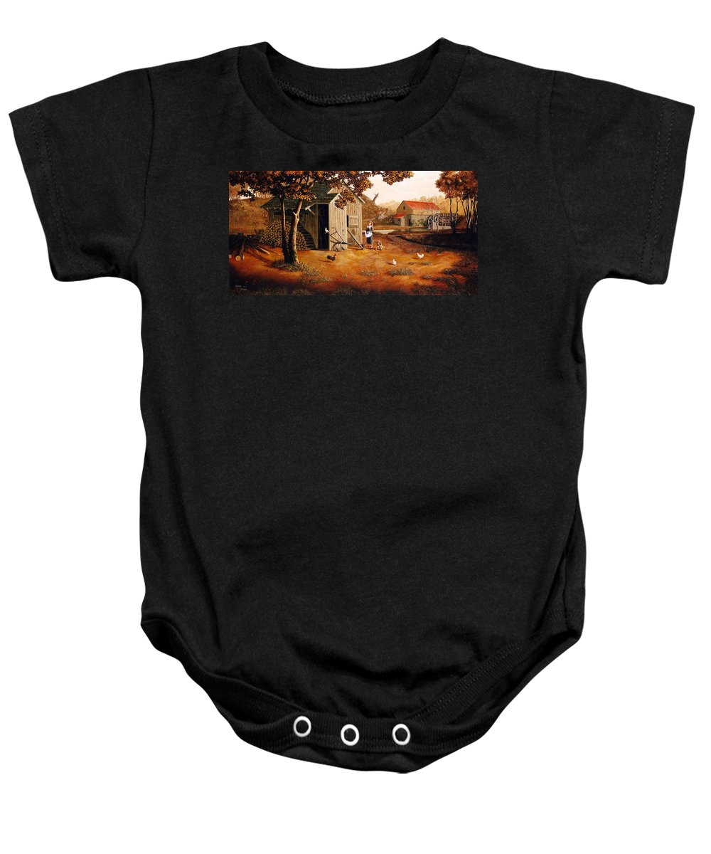 Farm Baby Onesie featuring the painting Days Of Discovery by Duane R Probus