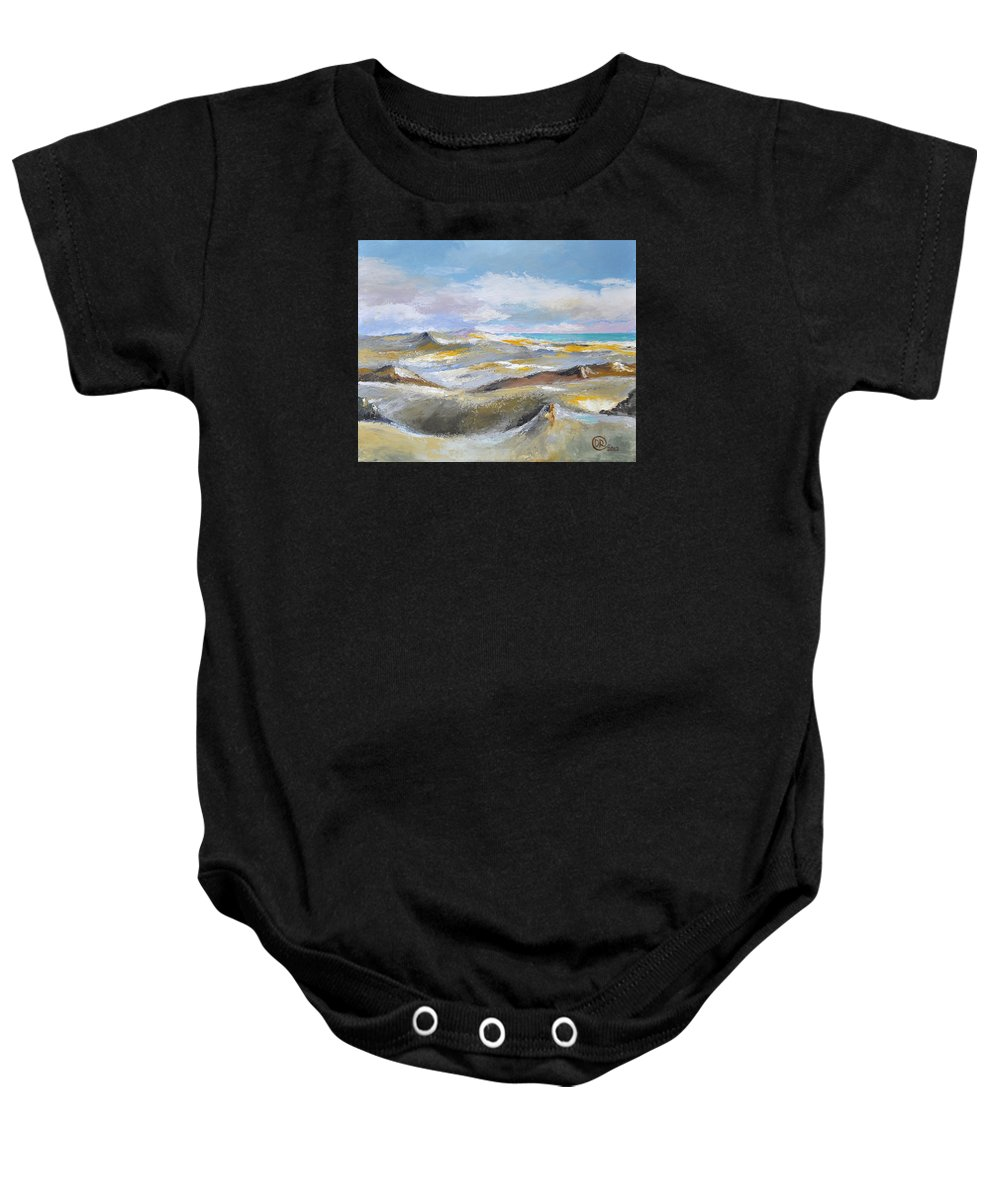 Dunes Baby Onesie featuring the mixed media Dunes by Diana Rabinovich