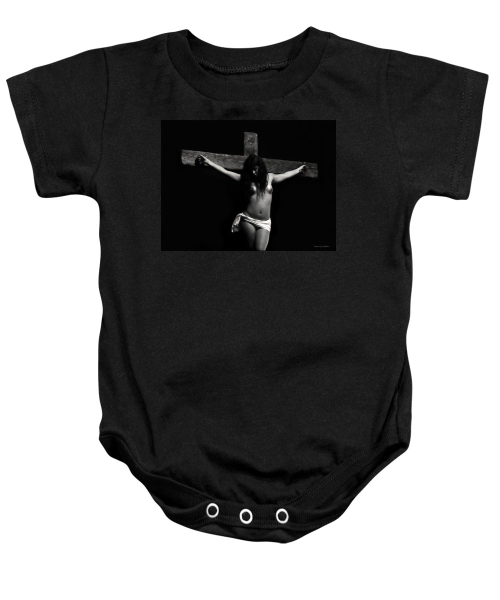 Crucifixion Baby Onesie featuring the photograph Death On The Cross by Ramon Martinez