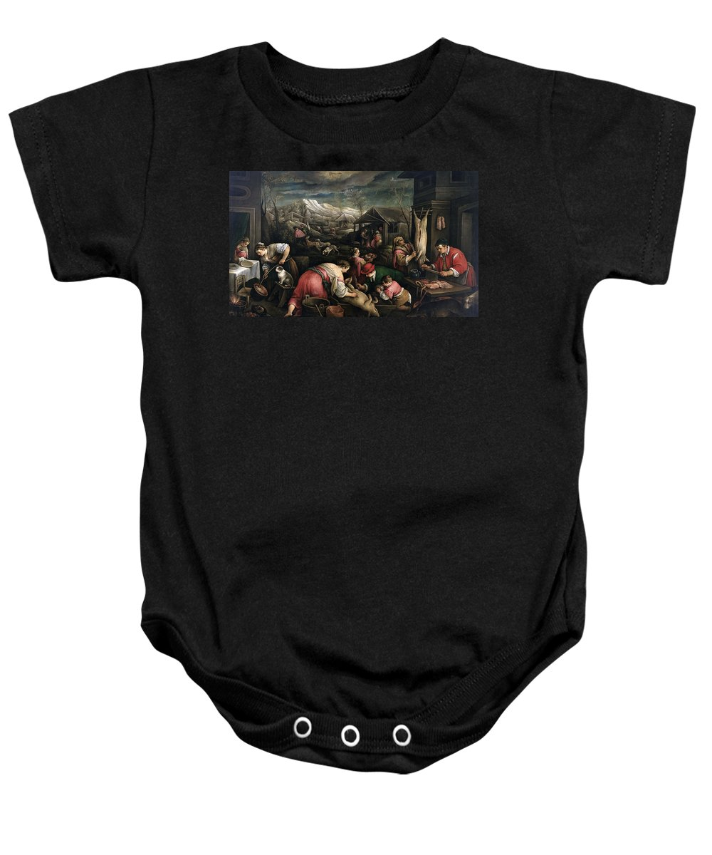 Francesco Bassano Baby Onesie featuring the painting December. Capricorn by Francesco Bassano