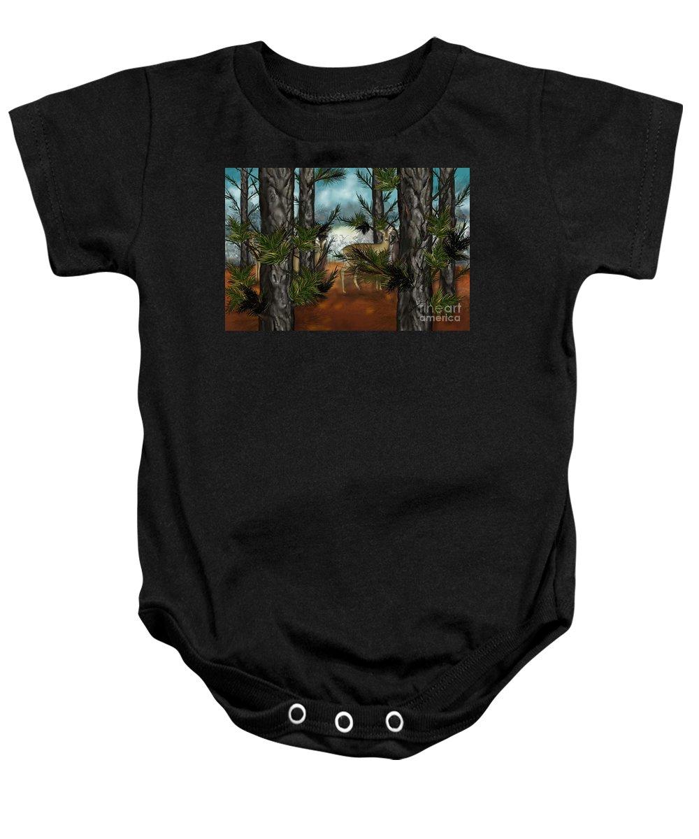 Deer Baby Onesie featuring the painting Deer In Pine Forest by Nancy Long