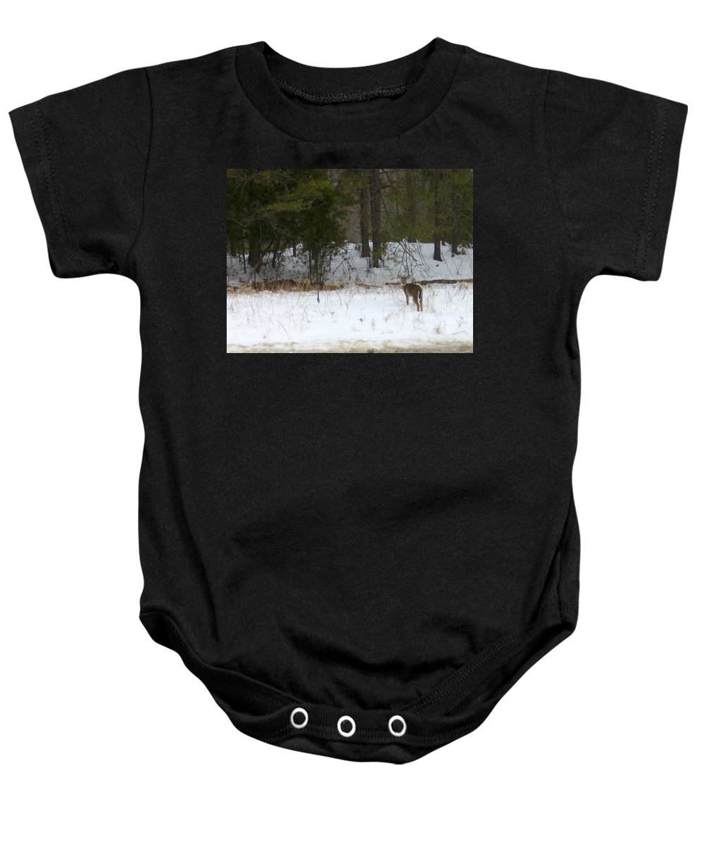 Snow Deer Baby Onesie featuring the photograph Eternity by Yow-Ning Chang