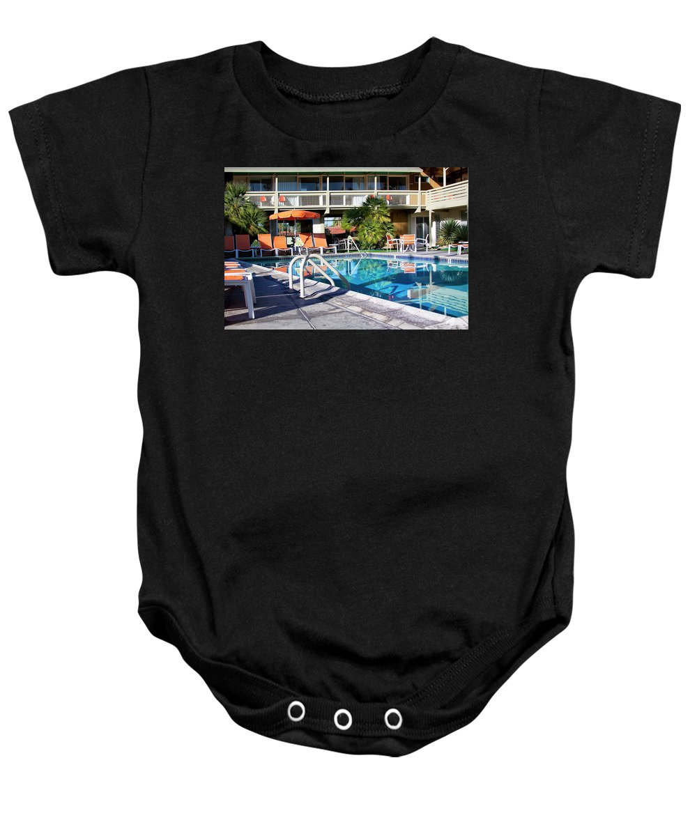 Midcentury Baby Onesie featuring the photograph Del Marcos Pool Palm Springs by William Dey