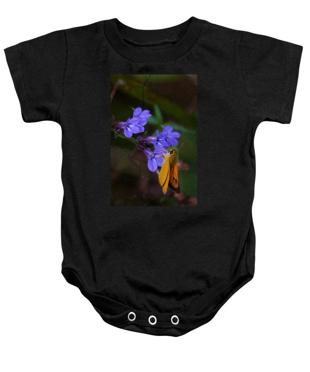 Delaware Skipper Baby Onesie featuring the photograph Delaware Skipper Butterfly by Melinda Fawver