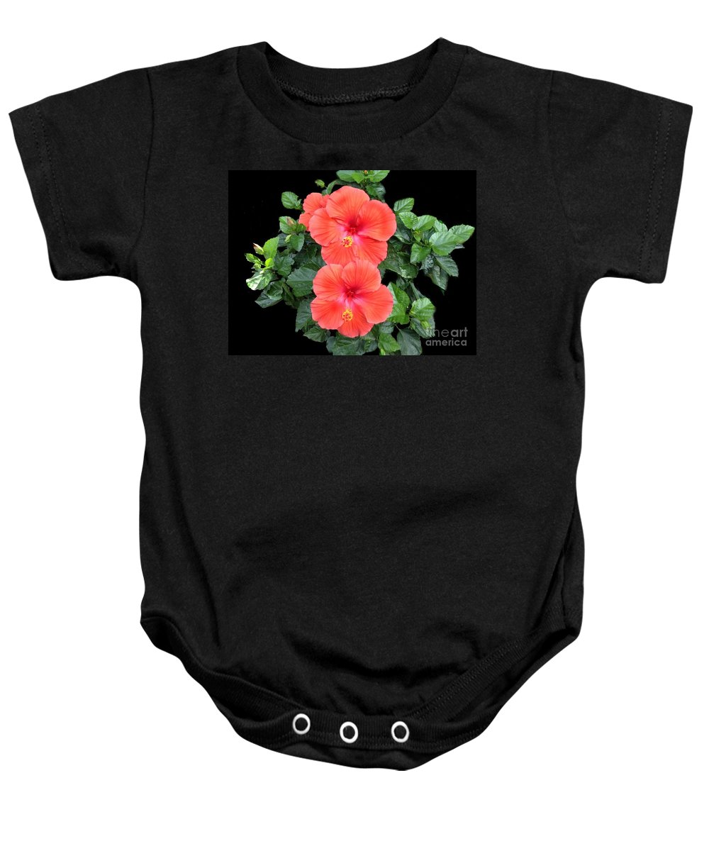 Hibiscus Baby Onesie featuring the photograph Delicate Beauties by Becky Lupe