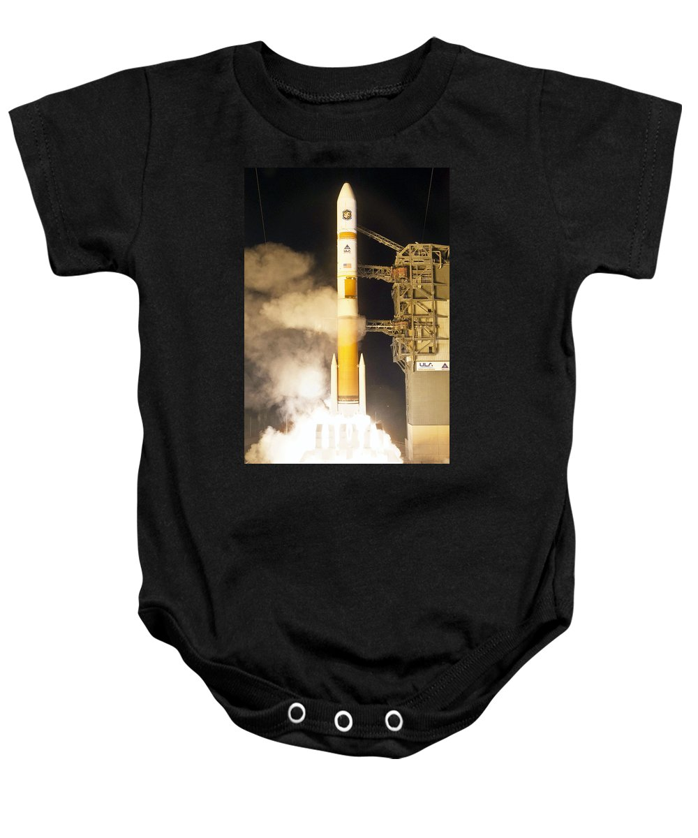 Astronomy Baby Onesie featuring the photograph Delta Iv Rocket Taking Off by Science Source