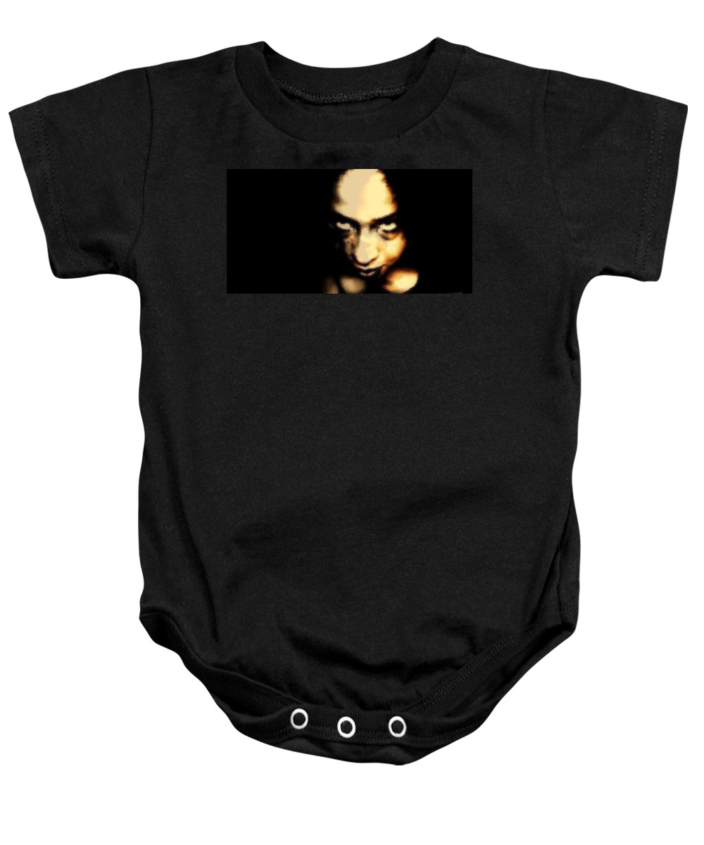 Black Baby Onesie featuring the photograph Deranged by Jessica Shelton