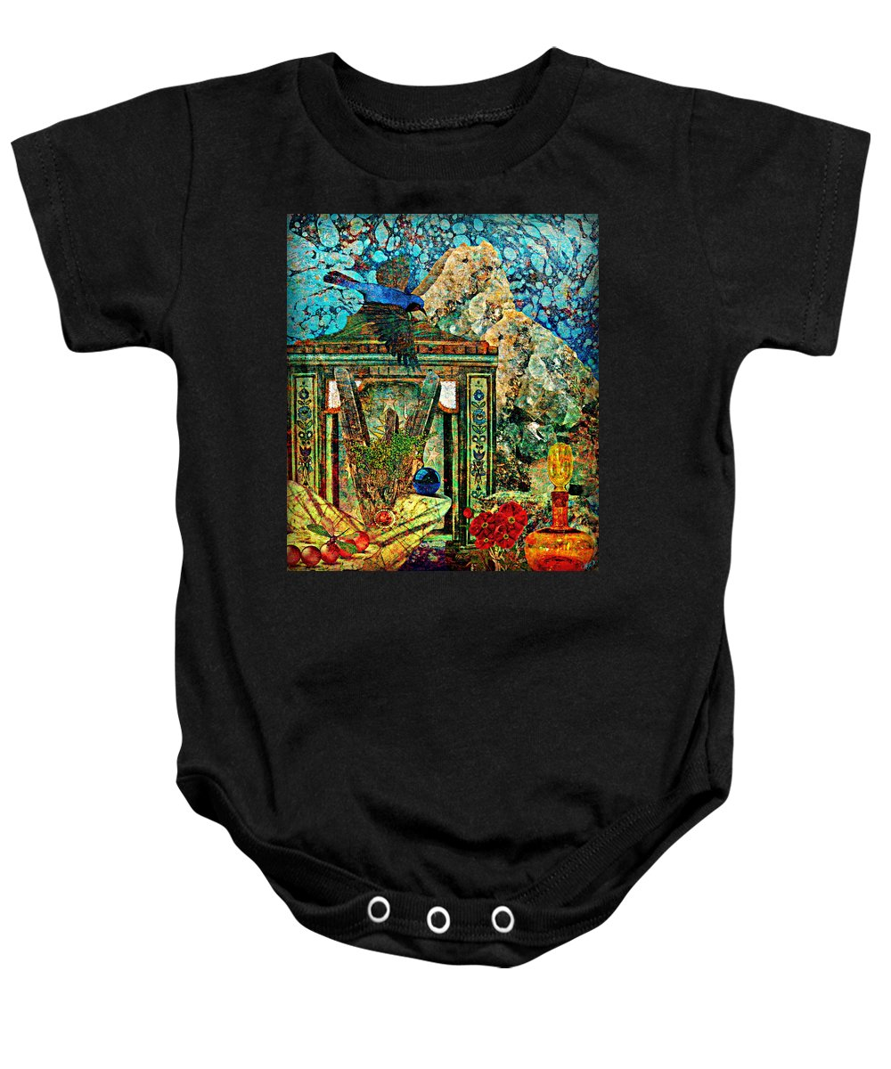 Surreal Baby Onesie featuring the painting Desert Blue by Ally White