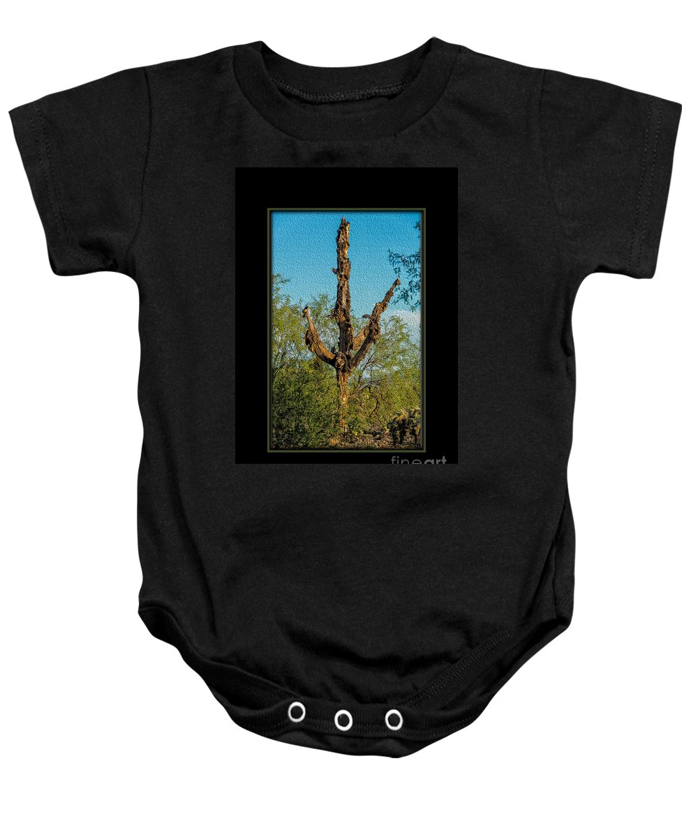 Saguaro Baby Onesie featuring the photograph Desert Cactus 16 by Larry White