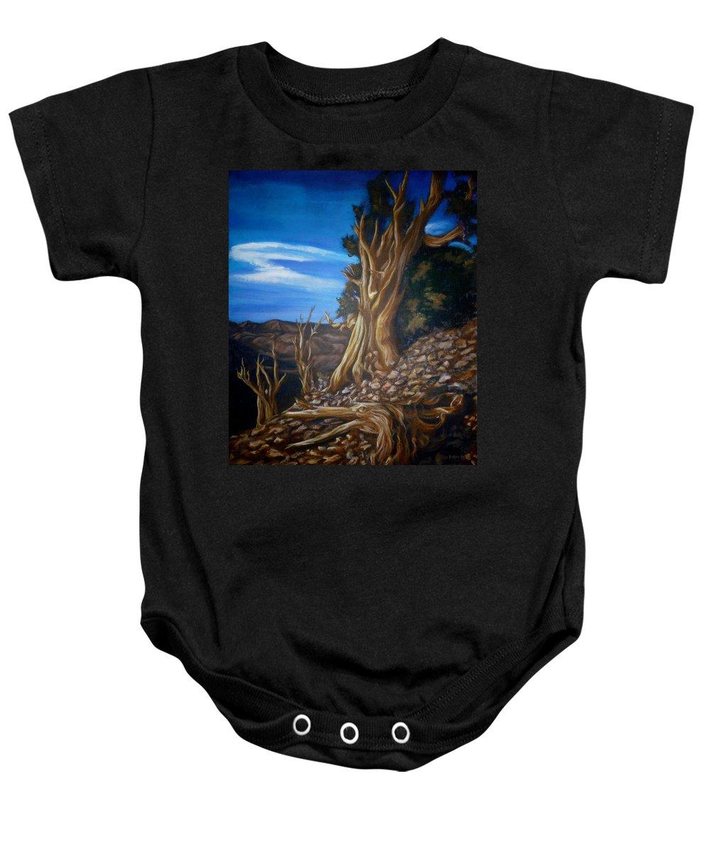 Desert Baby Onesie featuring the painting Desert Tree by Bryan Bustard
