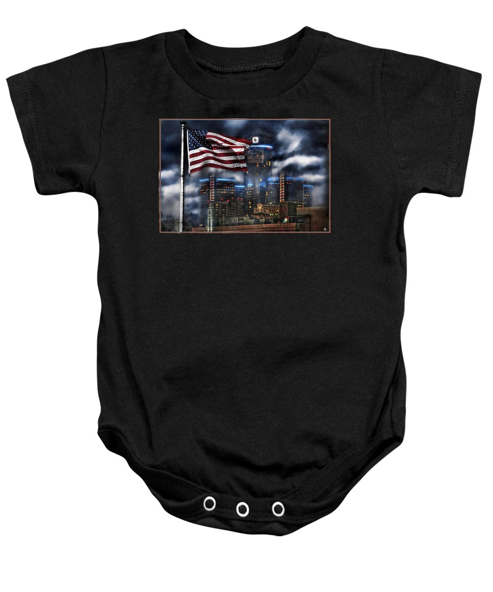 King Kong Baby Onesie featuring the photograph Detroit Mi Usa Flag by Nicholas Grunas