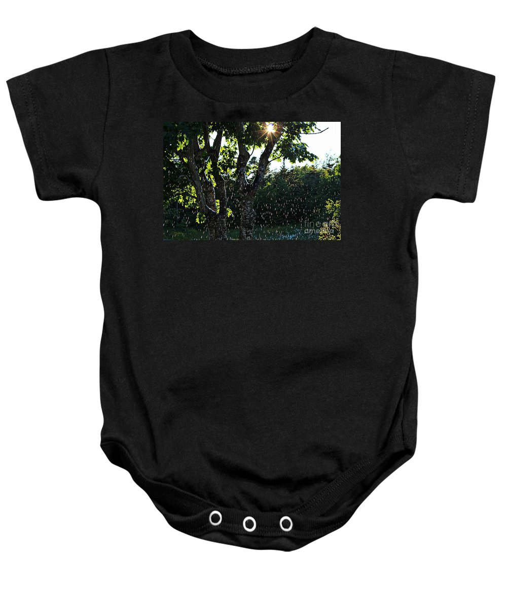 Sun Shower Baby Onesie featuring the photograph Devil Beating His Wife - Weather Phenomena by Barbara Griffin