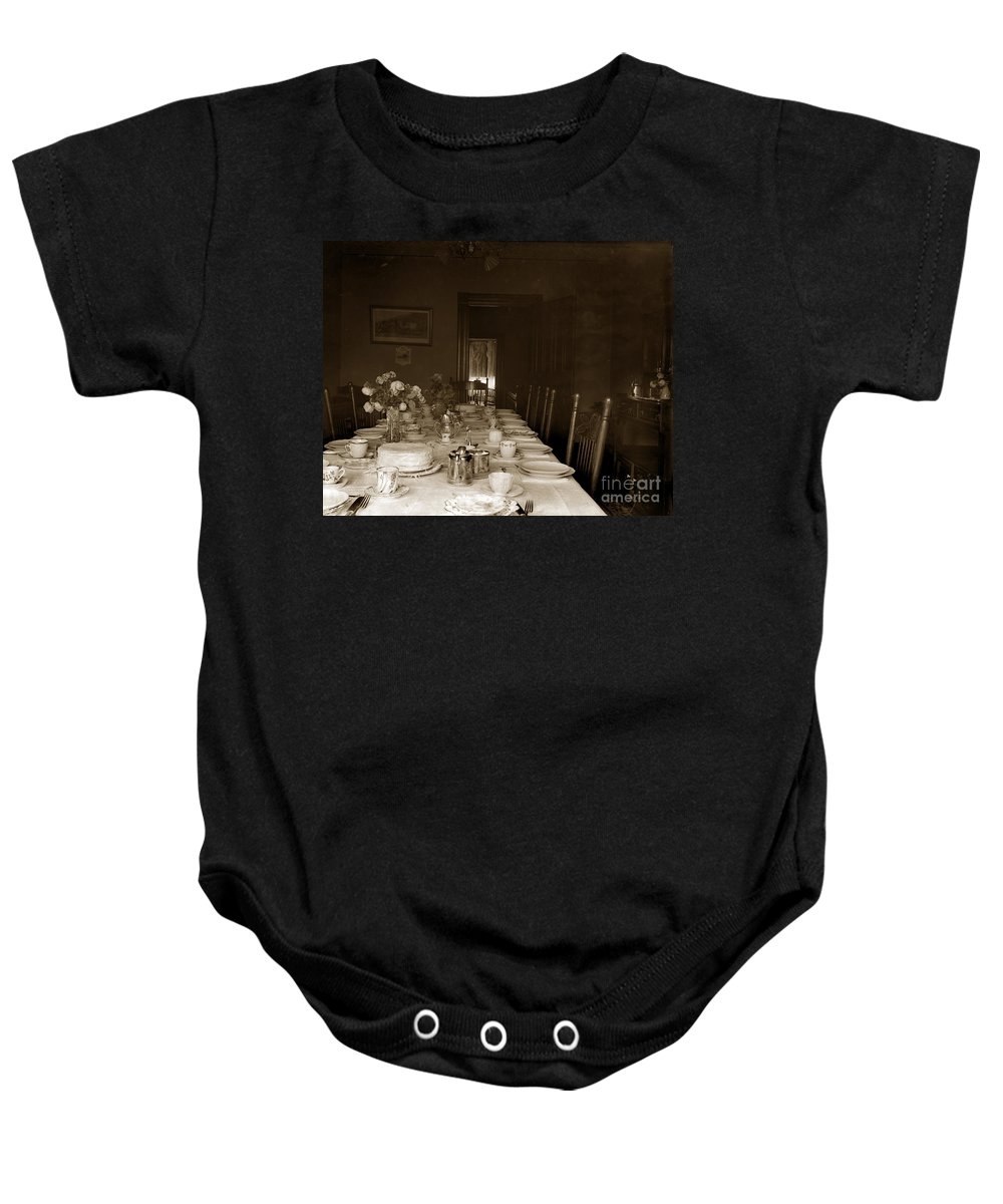Dining Baby Onesie featuring the photograph Dining Room Table Circa 1900 by California Views Archives Mr Pat Hathaway Archives