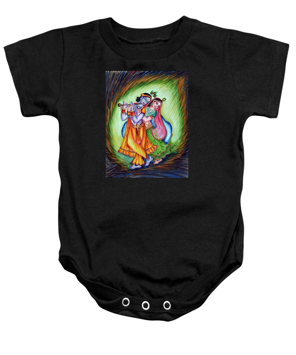 Krishna Baby Onesie featuring the painting Divine Lovers by Harsh Malik