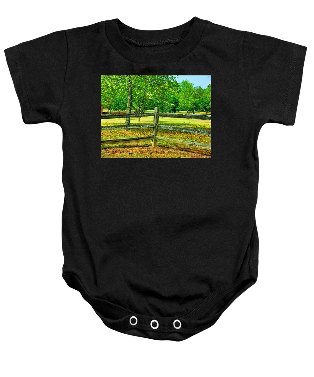 Fence Baby Onesie featuring the photograph Do Not Fence Me In by Ericamaxine Price