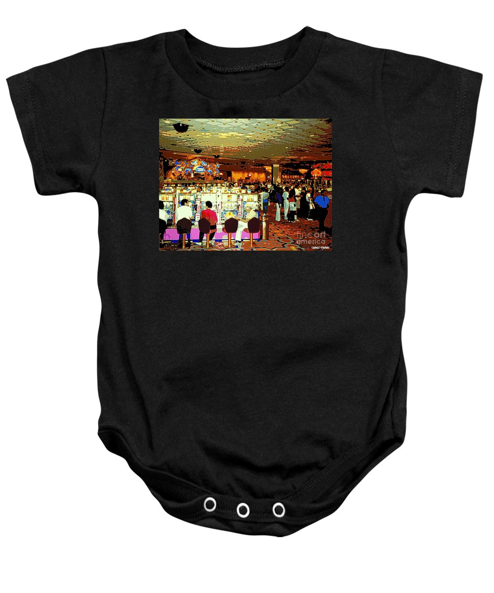 Colorful Casino Scenes Baby Onesie featuring the painting Do You Come Here Often ? Casino Slot Machine Pick Up Lines As You Gamble Your Life Savings Away by Carole Spandau