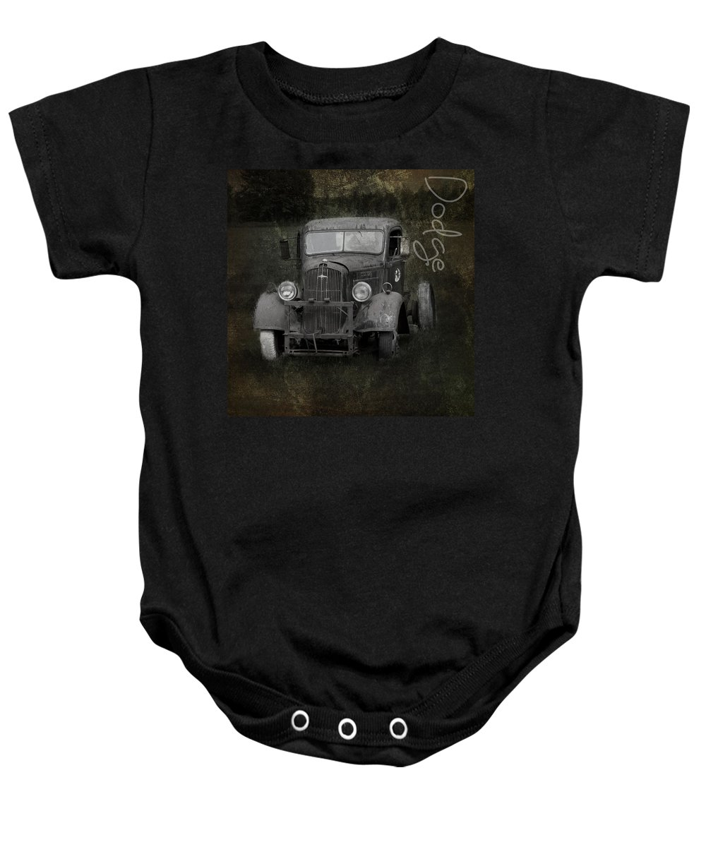 Car Baby Onesie featuring the photograph Dodge Take Life By The Horns by Evie Carrier