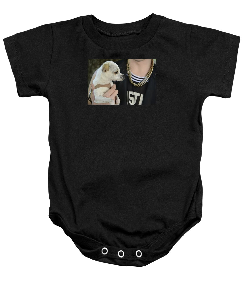 Dog And Friend Baby Onesie featuring the photograph Dog And True Friendship 1 by Teo SITCHET-KANDA