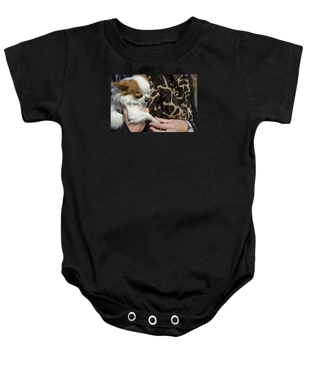 Dog And Friend Baby Onesie featuring the photograph Dog And True Friendship 3 by Teo SITCHET-KANDA