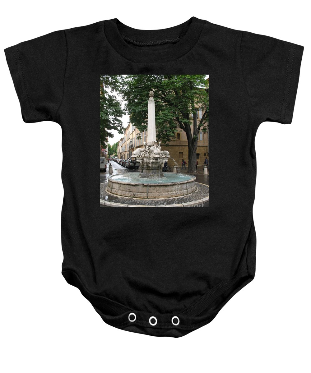 Dolphin Fountain Baby Onesie featuring the photograph Dolphinfountain - Aix En Provence by Christiane Schulze Art And Photography