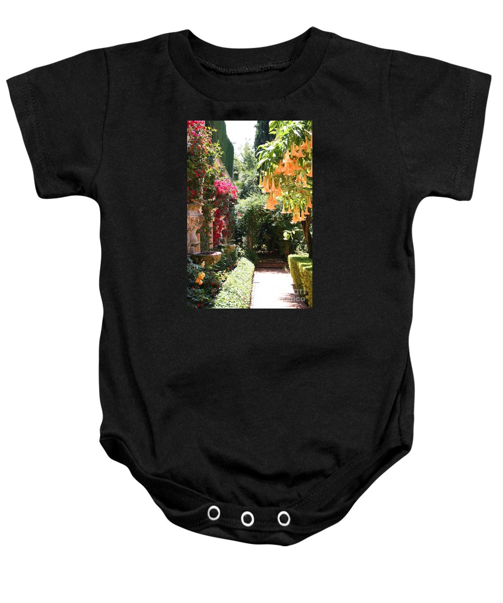 Dolphinfountain Baby Onesie featuring the photograph Dolphinfountain And Flowers - France by Christiane Schulze Art And Photography