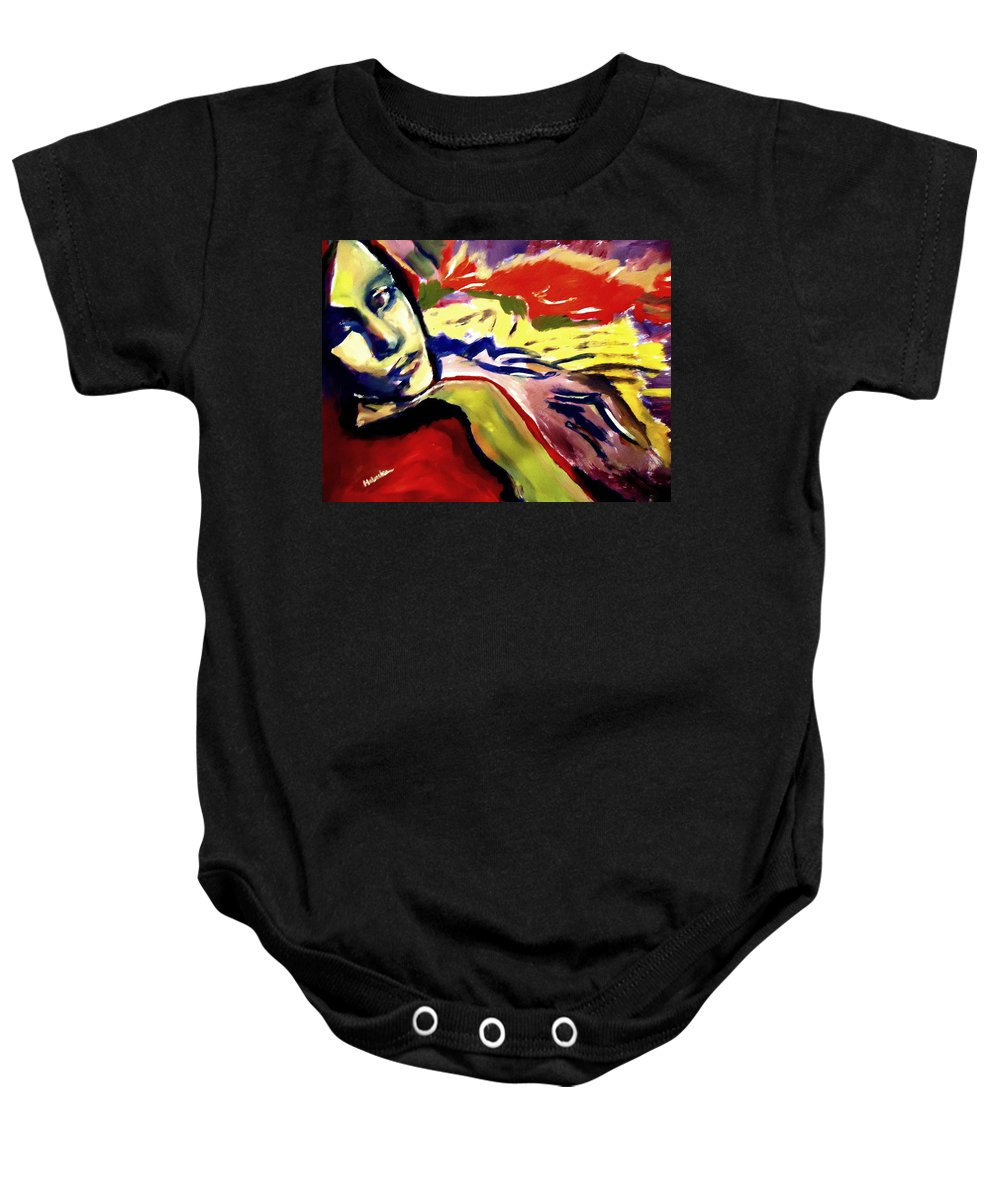 Art Baby Onesie featuring the painting Don T Look Back by Helena Wierzbicki