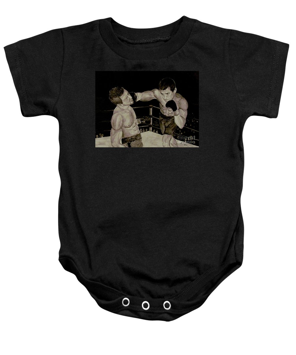 Boxing Baby Onesie featuring the painting Donovan Boxing by Tamir Barkan