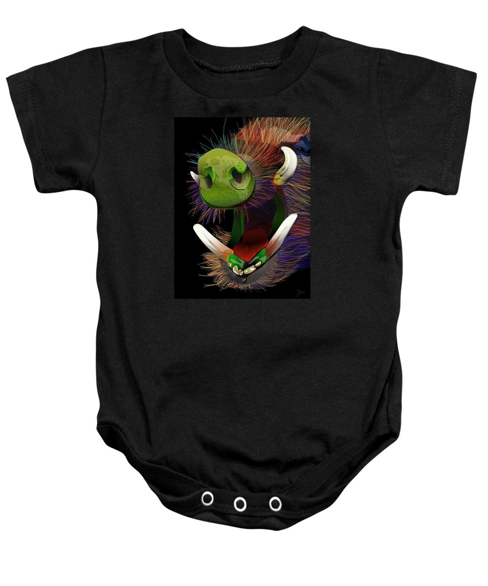 Nature Baby Onesie featuring the digital art Dont Be A Boar by Brian Jensen Felde
