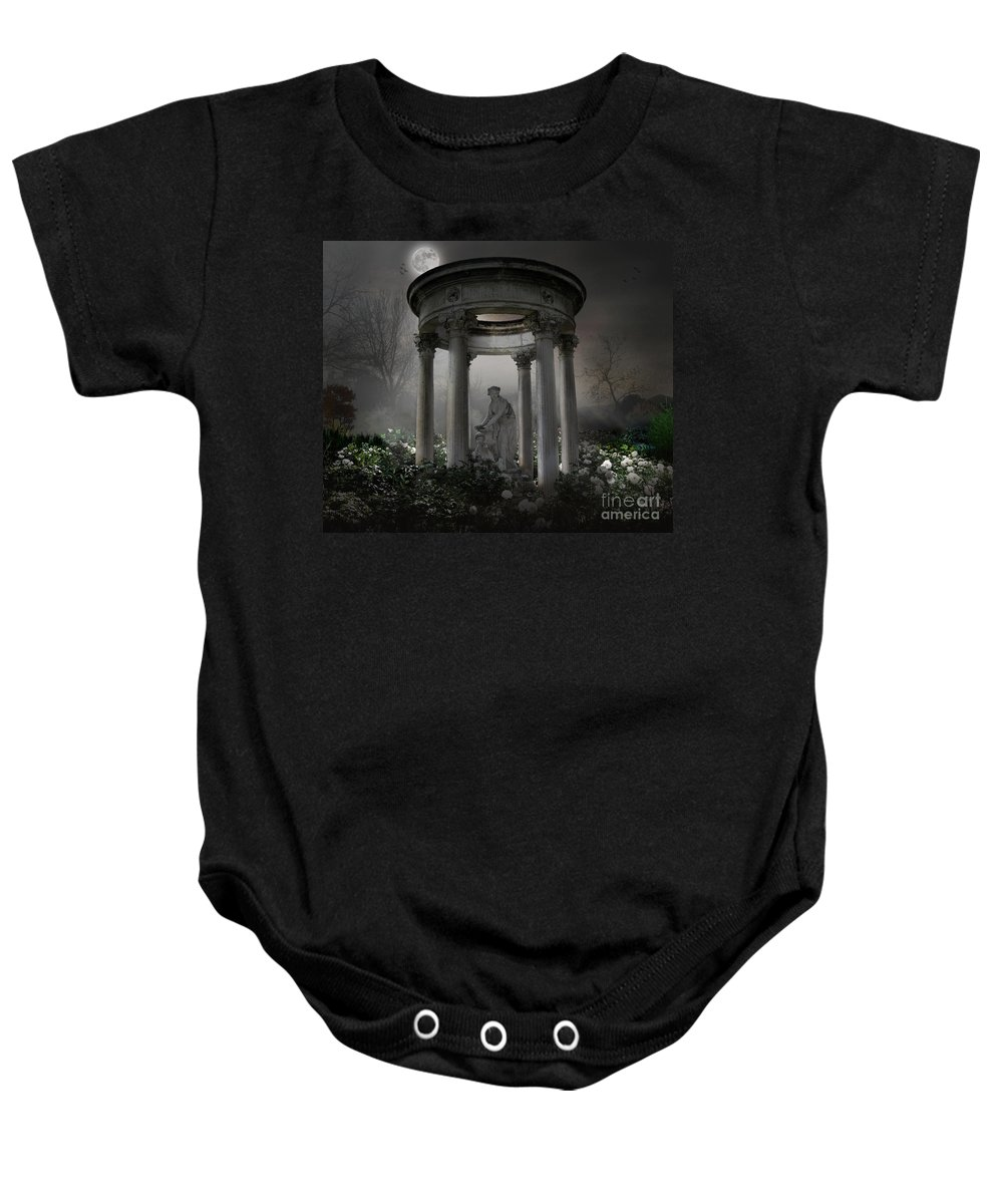 Photo Baby Onesie featuring the photograph Don't Wake Up My Sleepy White Roses - Moonlight Version by Peter Awax