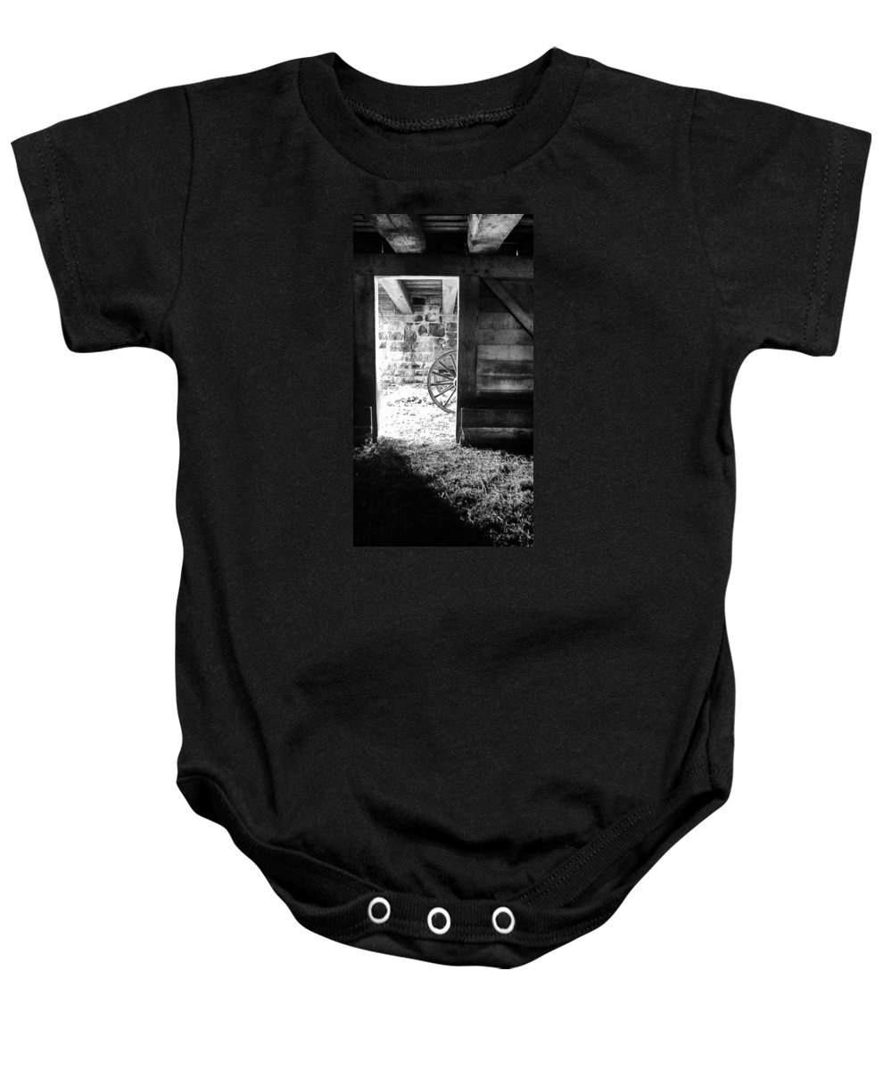 Barn Baby Onesie featuring the photograph Doorway Through Time by Daniel Thompson