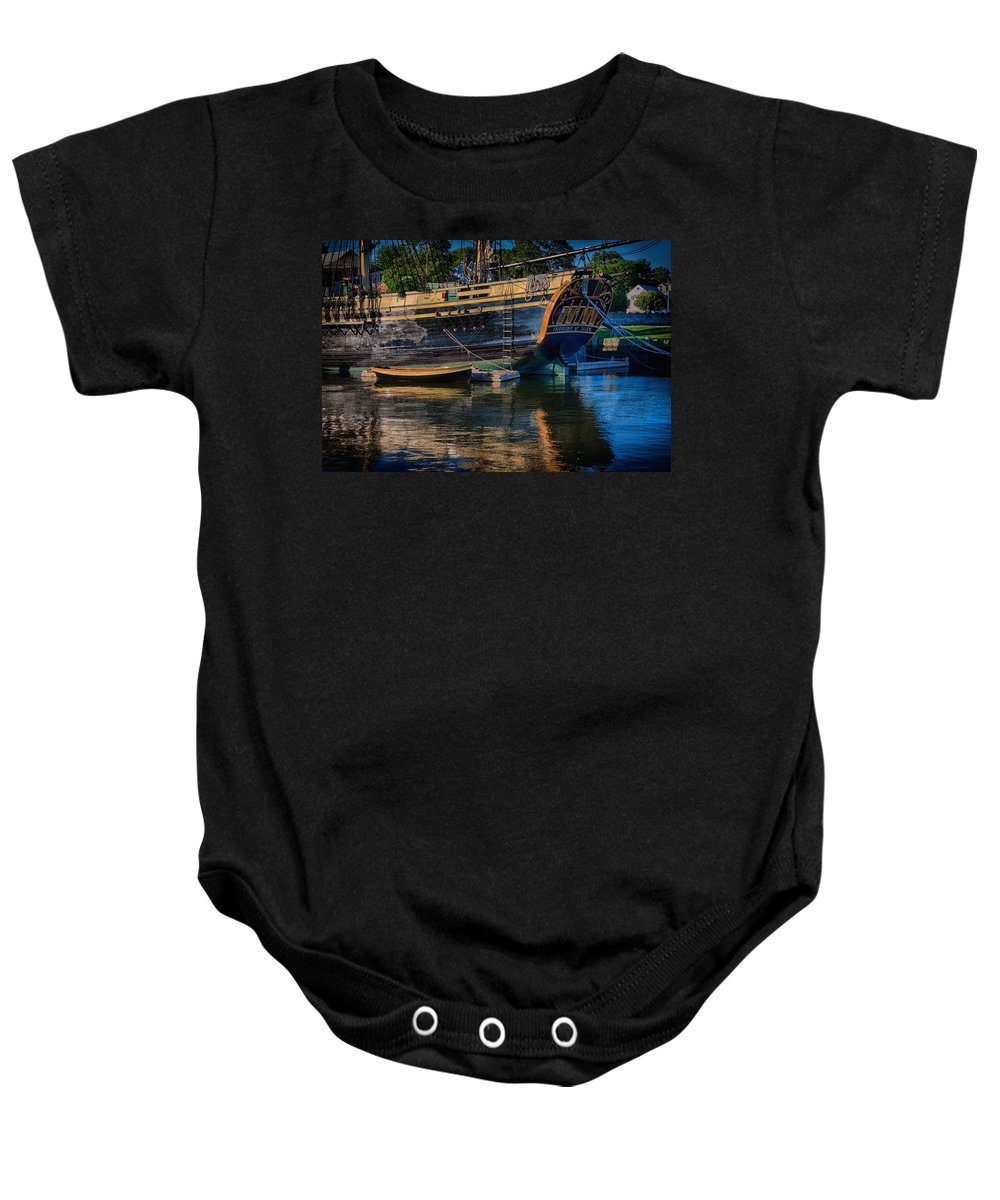 Salem Baby Onesie featuring the photograph Dory Along Side by Jeff Folger