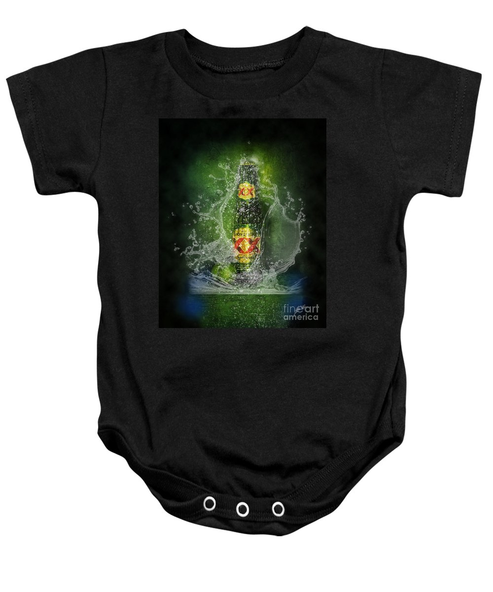 Dos Equis Beer Baby Onesie featuring the photograph Double X by Erika Weber