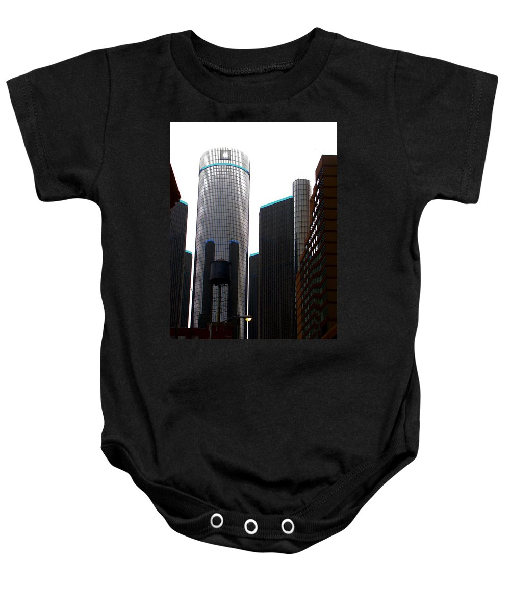 Ron Tackett Baby Onesie featuring the photograph Downtown Detroit Through Joey's Eyes by Ron Tackett