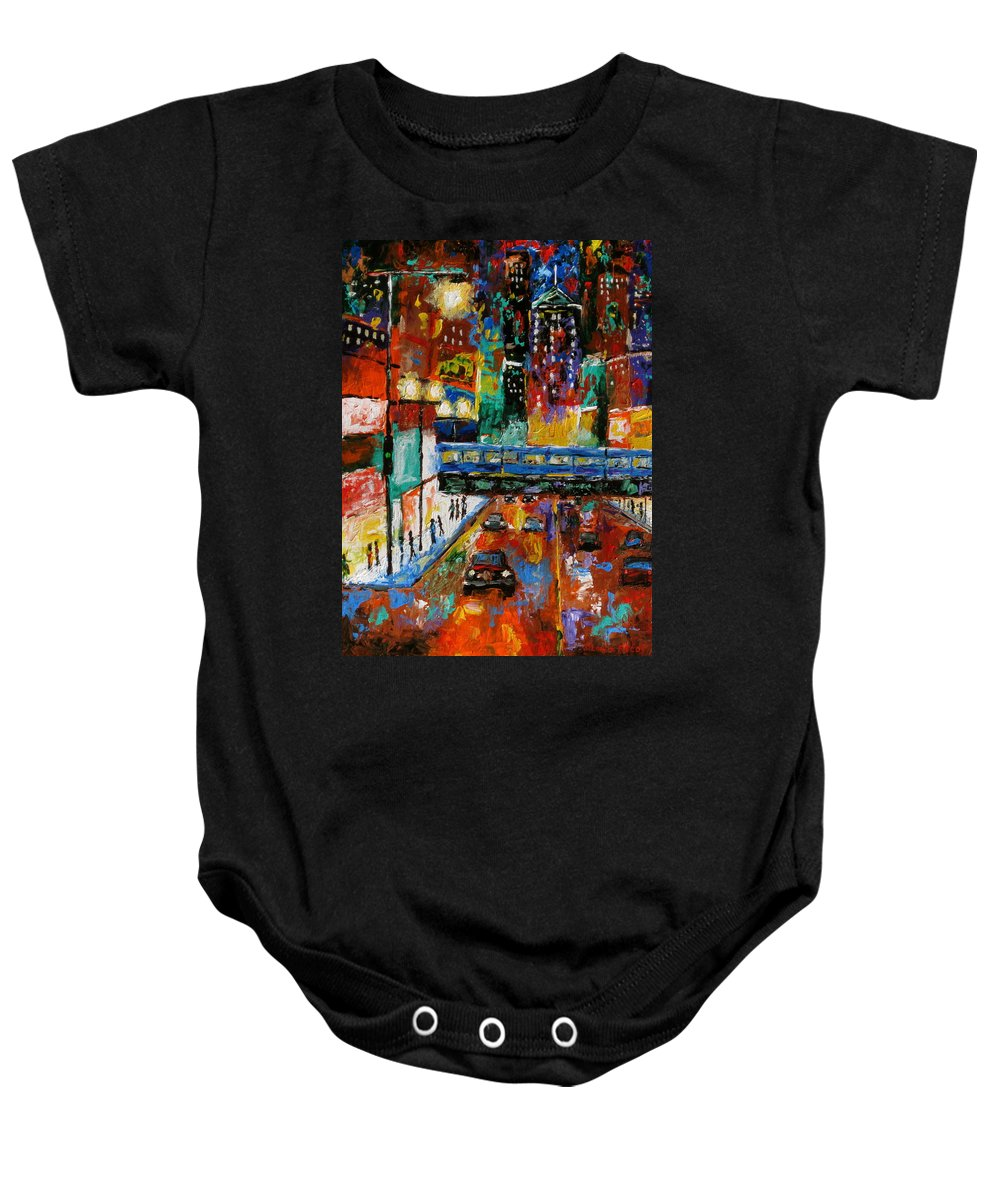 Chicago Art Baby Onesie featuring the painting Downtown Friday Night by J Loren Reedy