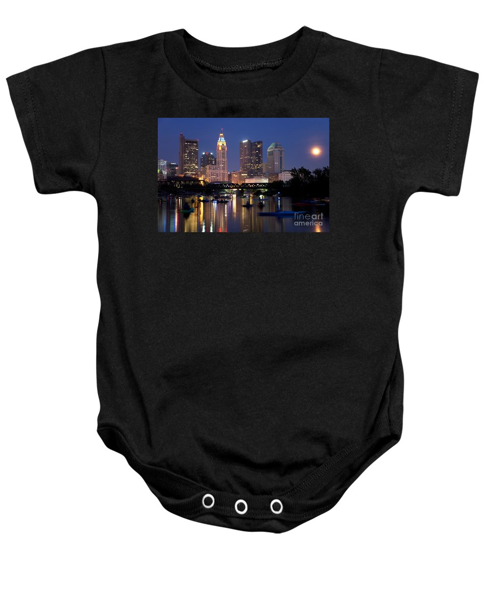 Columbus Baby Onesie featuring the photograph Downtown Skyline Of Columbus by Bill Cobb
