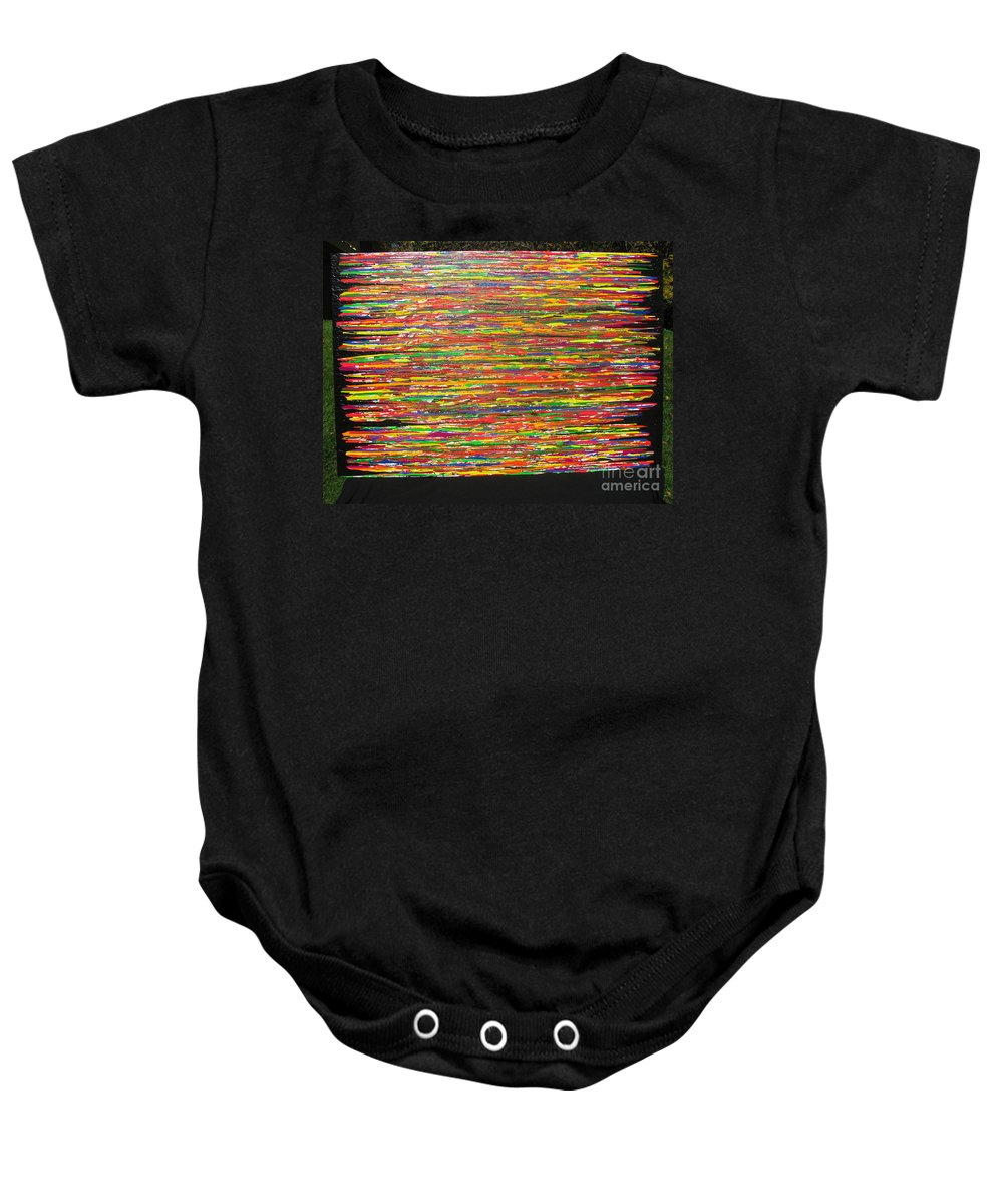 Drama Baby Onesie featuring the painting Drama by Jacqueline Athmann