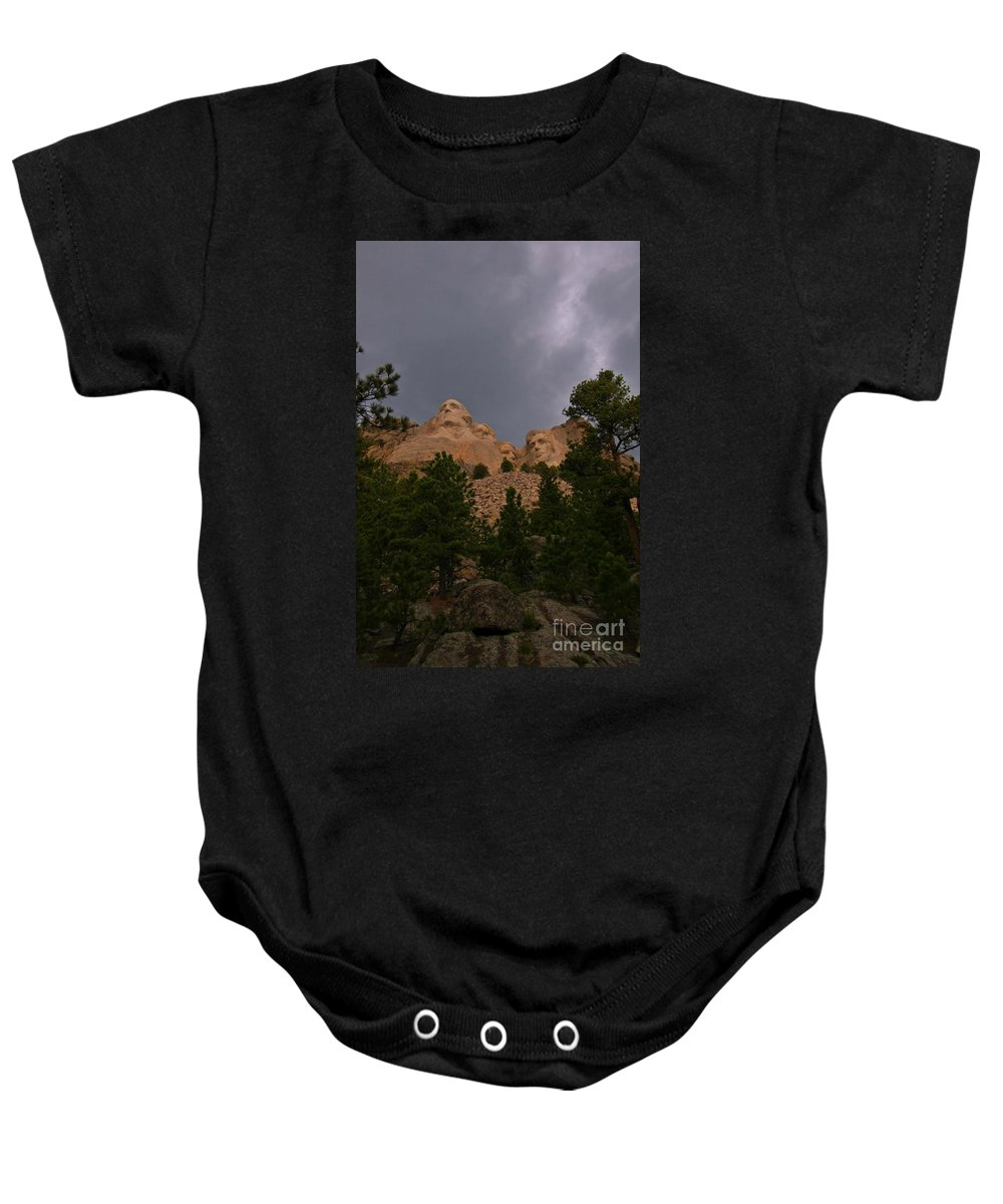 Mount Rushmore Baby Onesie featuring the photograph Dramatic Rushmore by John Malone