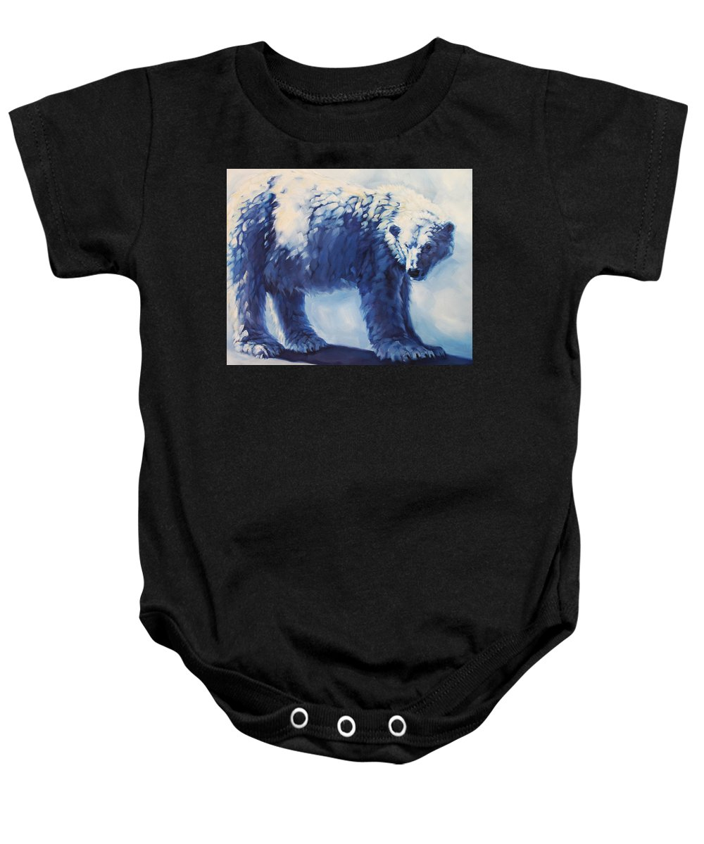 Animals Baby Onesie featuring the painting Dream Bear by Carrie Cook