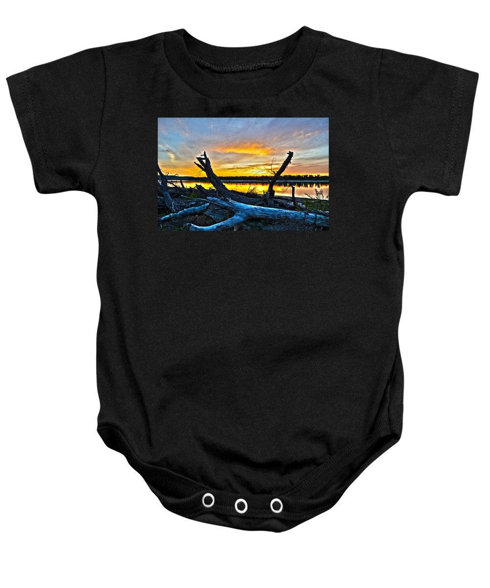Sunset Baby Onesie featuring the photograph Driftwood Sunset by Brian Metz