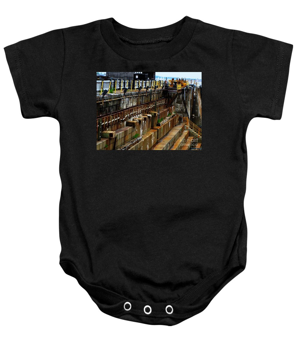 Uss Constitution Baby Onesie featuring the photograph Dry Dock by Ron Tackett