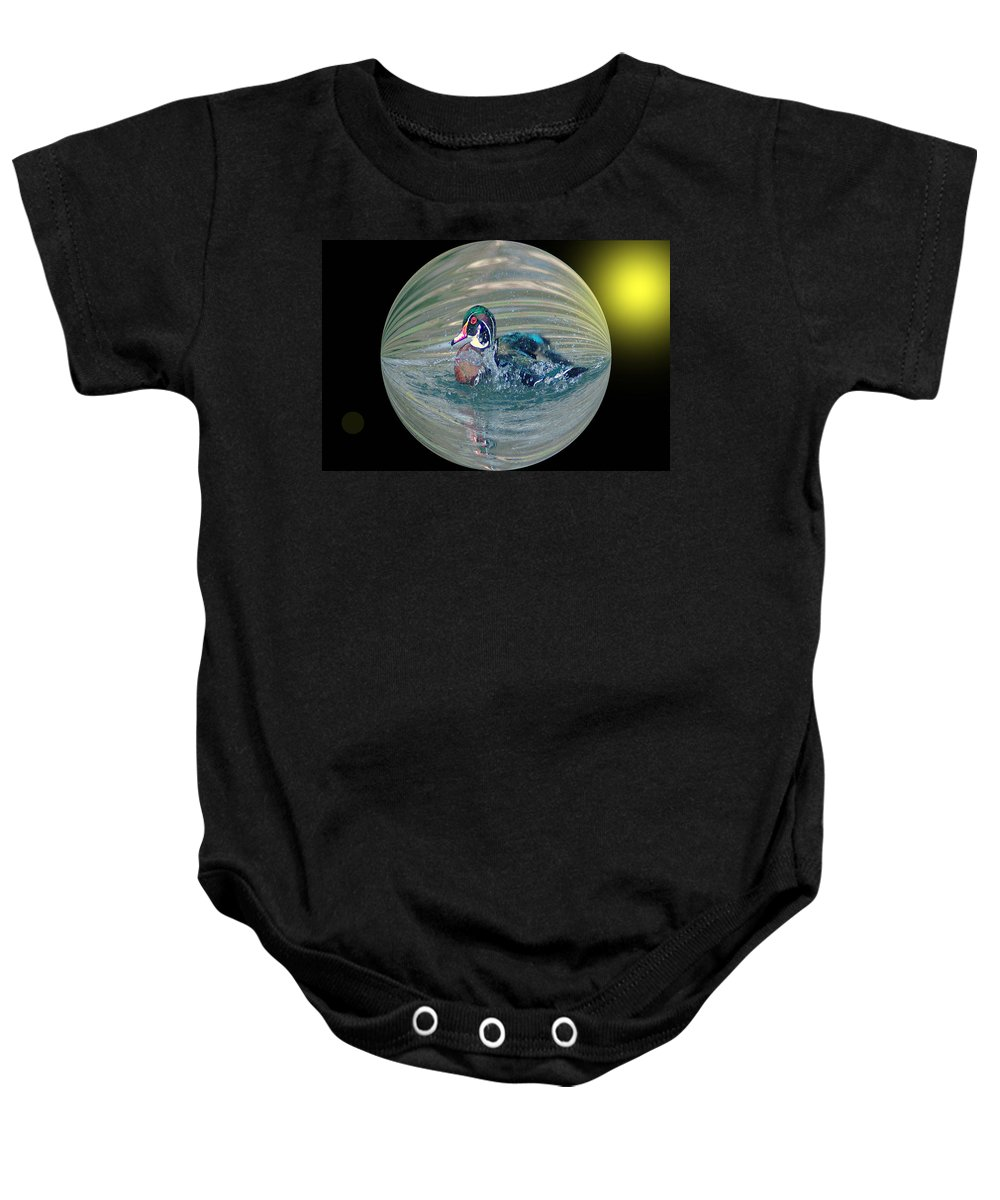 Ducks Baby Onesie featuring the photograph Duck In A Bubble by Jeff Swan