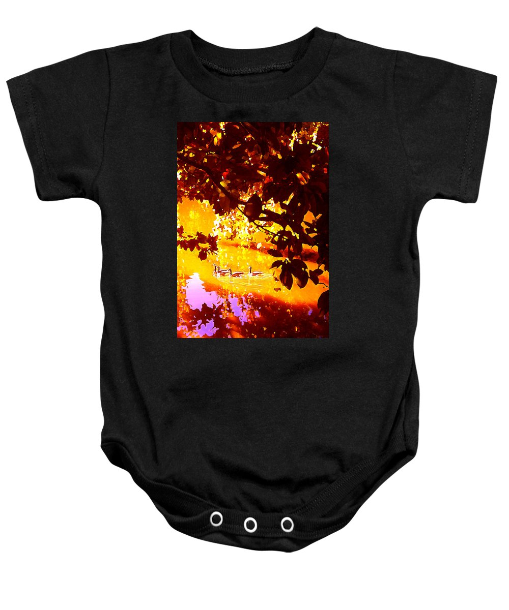 Landscapes Baby Onesie featuring the painting Ducks In The Disitance by Amy Vangsgard