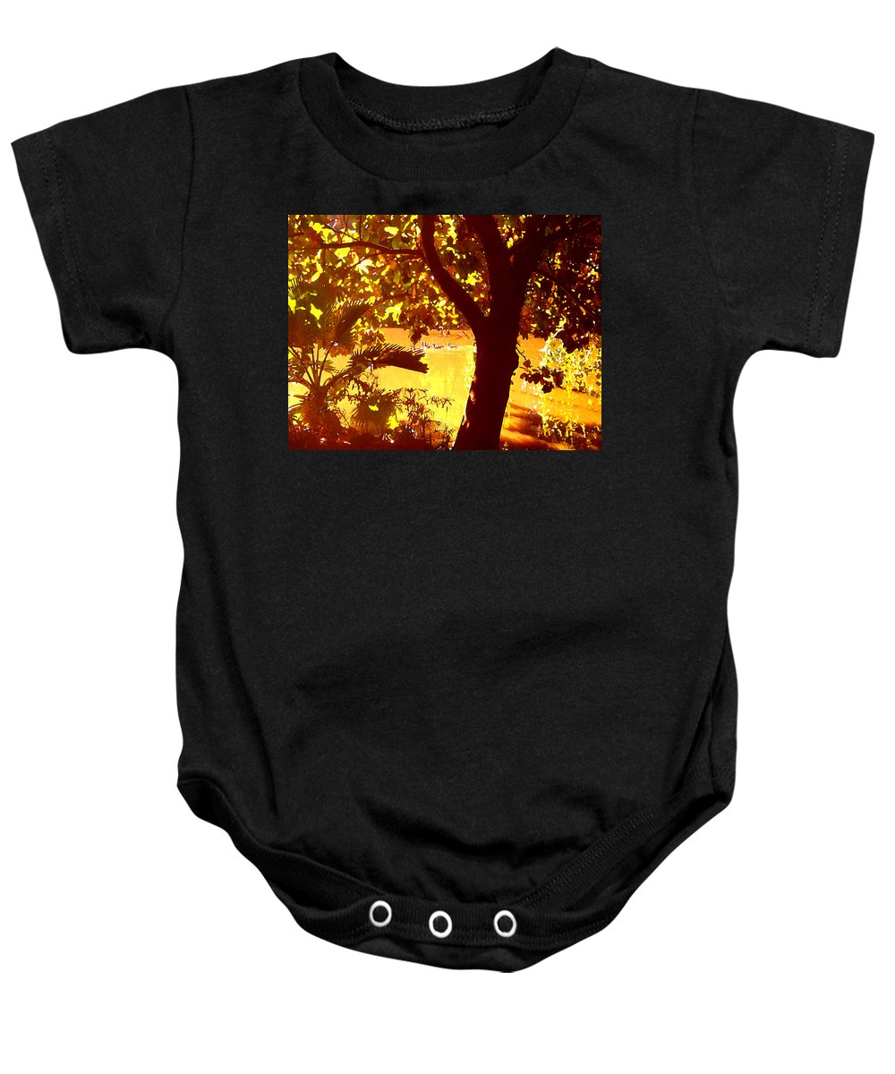 Landscapes Baby Onesie featuring the painting Ducks Swimming In The Distance by Amy Vangsgard