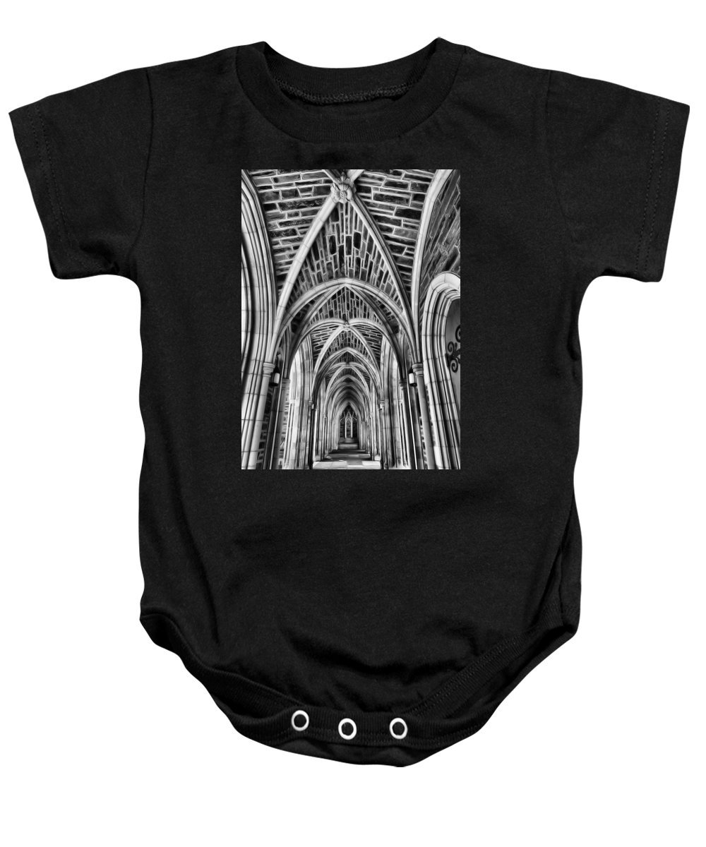 Duke Baby Onesie featuring the photograph Duke Chapel Arches by Nadine Lewis