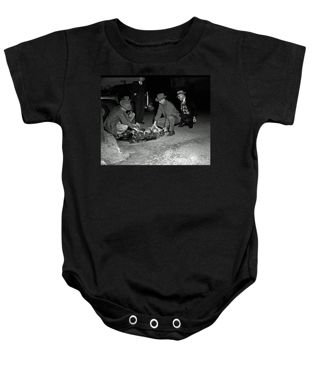 1950s Baby Onesie featuring the photograph Dumping Whiskey In Mississippi 1951 by Mountain Dreams