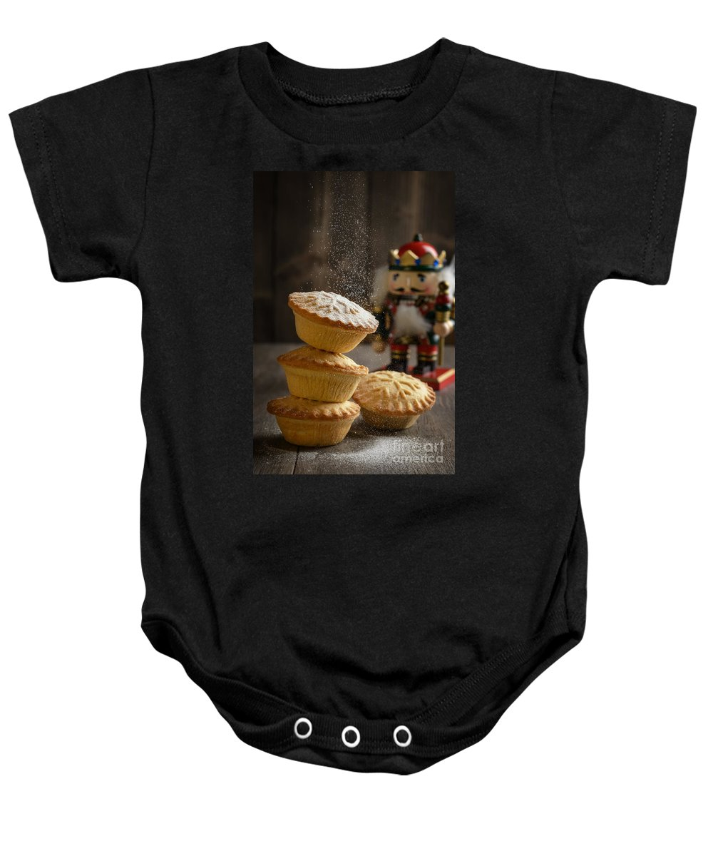 Mince Baby Onesie featuring the photograph Dusting Mince Pies by Amanda Elwell