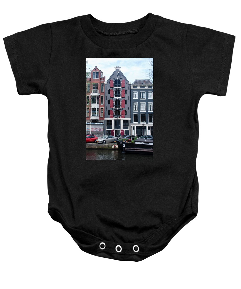 Amsterdam Baby Onesie featuring the photograph Dutch Canal House by Thomas Marchessault